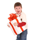 Fun boy with white gift box. Royalty Free Stock Photo