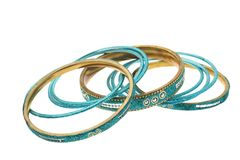 Indian bracelets. Fun bracelets in blue and gold Stock Images