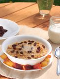 Fun Breakfast. A fun and delicious fresh oatmeal breakfast topped with raisons, melted butter, and brown sugar.  Includes peaches and milk on the side Royalty Free Stock Images