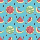 Fun bright blue seamless cartoon style summer fruit pattern with full and half water melons and seeds vector illustration