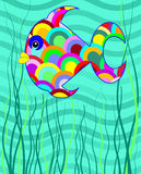 Fun bright cartoon fish. Side view of a brightly coloured cartoon fish with multi-colored scales swimming in blue water Stock Images