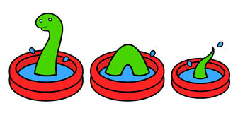 Fun bright red wading pool with Lochness monster Royalty Free Stock Photo