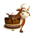 Fun Bull cartoon character with cake Stock Photography