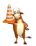 Fun  Bull cartoon character with construction cone Royalty Free Stock Photography