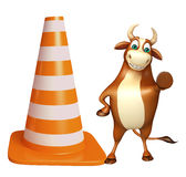 Fun Bull cartoon character with construction cone Stock Image