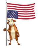 Fun Bull cartoon character with flag. 3d rendered illustration of Bull cartoon character with flag Stock Photos