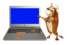 Fun Bull cartoon character with laptop Stock Images