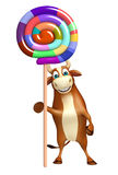 Fun Bull cartoon character with lollypop Stock Photography