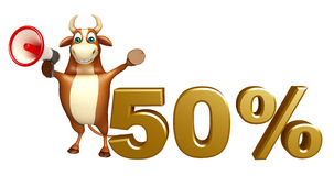 Fun Bull cartoon character with loudseaker and 50% sign Stock Image