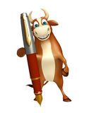 Fun Bull cartoon character with pen. 3d rendered illustration of Bull cartoon character with pen Stock Image