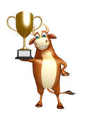 Fun Bull cartoon character with winning cup Stock Photo