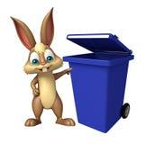 Fun Bunny cartoon character Bunny cartoon character with dustbin Stock Images