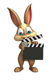 Fun Bunny cartoon character with clapper board. 3d rendered illustration of Bunny cartoon character with clapper board Stock Images