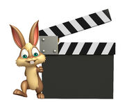 Fun Bunny cartoon character with clapper board. 3d rendered illustration of Bunny cartoon character with clapper board Stock Image
