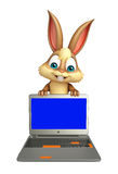 Fun Bunny cartoon character with laptop Stock Photography