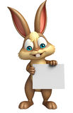 Fun Bunny cartoon character with white board Royalty Free Stock Image