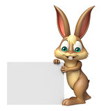 Fun Bunny cartoon character with white board. 3d rendered illustration of Bunny cartoon character with white board Royalty Free Stock Photo