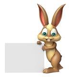 Fun Bunny cartoon character with white board Royalty Free Stock Photo