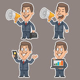 Fun businessman stickers concept set 2 Royalty Free Stock Images