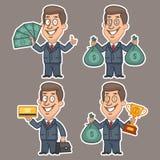Fun businessman stickers concept set 4 Stock Photo