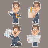 Fun businessman stickers concept set 1 Stock Image