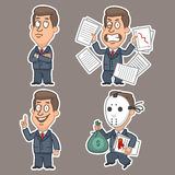 Fun businessman stickers concept set 3 Royalty Free Stock Images