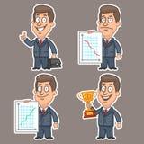 Fun businessman stickers concept set 5 Stock Photos
