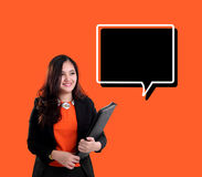 Fun businesswoman looking at text box vector illustration