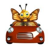 fun Butterfly cartoon character with car Stock Photos