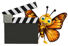 fun Butterfly cartoon character with clapboard Stock Image