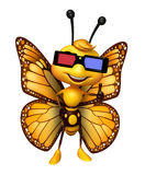 Fun Butterfly cartoon character  with 3D gogal Royalty Free Stock Image