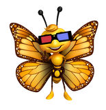 Fun Butterfly cartoon character  with 3D gogal Royalty Free Stock Images