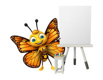 Fun Butterfly cartoon character with easel board. 3d rendered illustration of Butterfly cartoon character with easel board Royalty Free Stock Photos