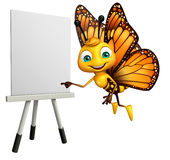 Fun Butterfly cartoon character with easel board. 3d rendered illustration of Butterfly cartoon character with easel board Stock Photography