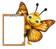 Fun Butterfly cartoon character with exam pad. 3d rendered illustration of Butterfly cartoon character with exam pad Royalty Free Stock Image