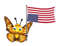 Fun Butterfly cartoon character with flag. 3d rendered illustration of Butterfly cartoon character with flag Stock Images