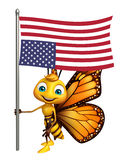 Fun Butterfly cartoon character with flag. 3d rendered illustration of Butterfly cartoon character with flag Royalty Free Stock Photos