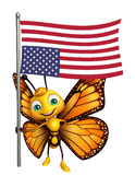 Fun Butterfly cartoon character with flag. 3d rendered illustration of Butterfly cartoon character with flag Stock Photos