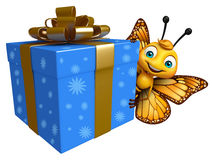 Fun Butterfly cartoon character with giftbox Royalty Free Stock Images