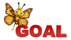 fun Butterfly cartoon character with goal sign Stock Images