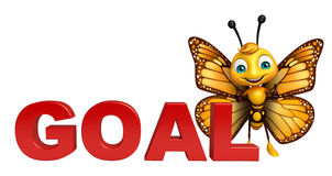 fun Butterfly cartoon character with goal sign Stock Image