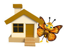 fun Butterfly cartoon character  with home Stock Photo