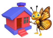 Fun Butterfly cartoon character  with home. 3d rendered illustration of Butterfly cartoon character  with home Stock Photo