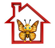 fun Butterfly cartoon character with home sign Stock Photography