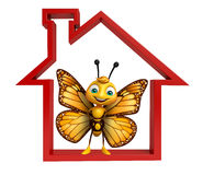 fun Butterfly cartoon character with home sign Stock Images