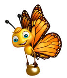 Fun Butterfly cartoon character with honey pot. 3d rendered illustration of Butterfly cartoon character with honey pot Royalty Free Stock Image