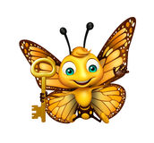 fun Butterfly cartoon character with key royalty free illustration