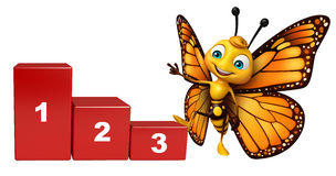 Fun Butterfly cartoon character with level. 3d rendered illustration of Butterfly cartoon character with level Stock Images