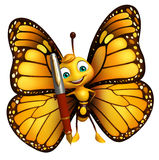 Fun Butterfly cartoon character with pen Stock Photos