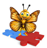 Fun Butterfly cartoon character with puzzle Royalty Free Stock Photos